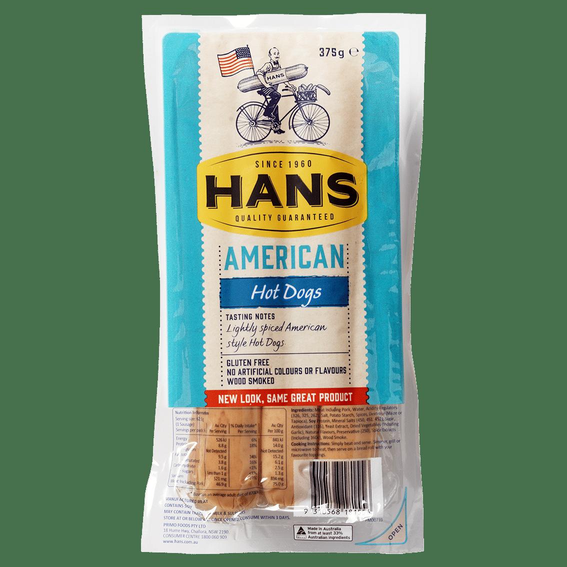 Hans American Hot Dogs 375g