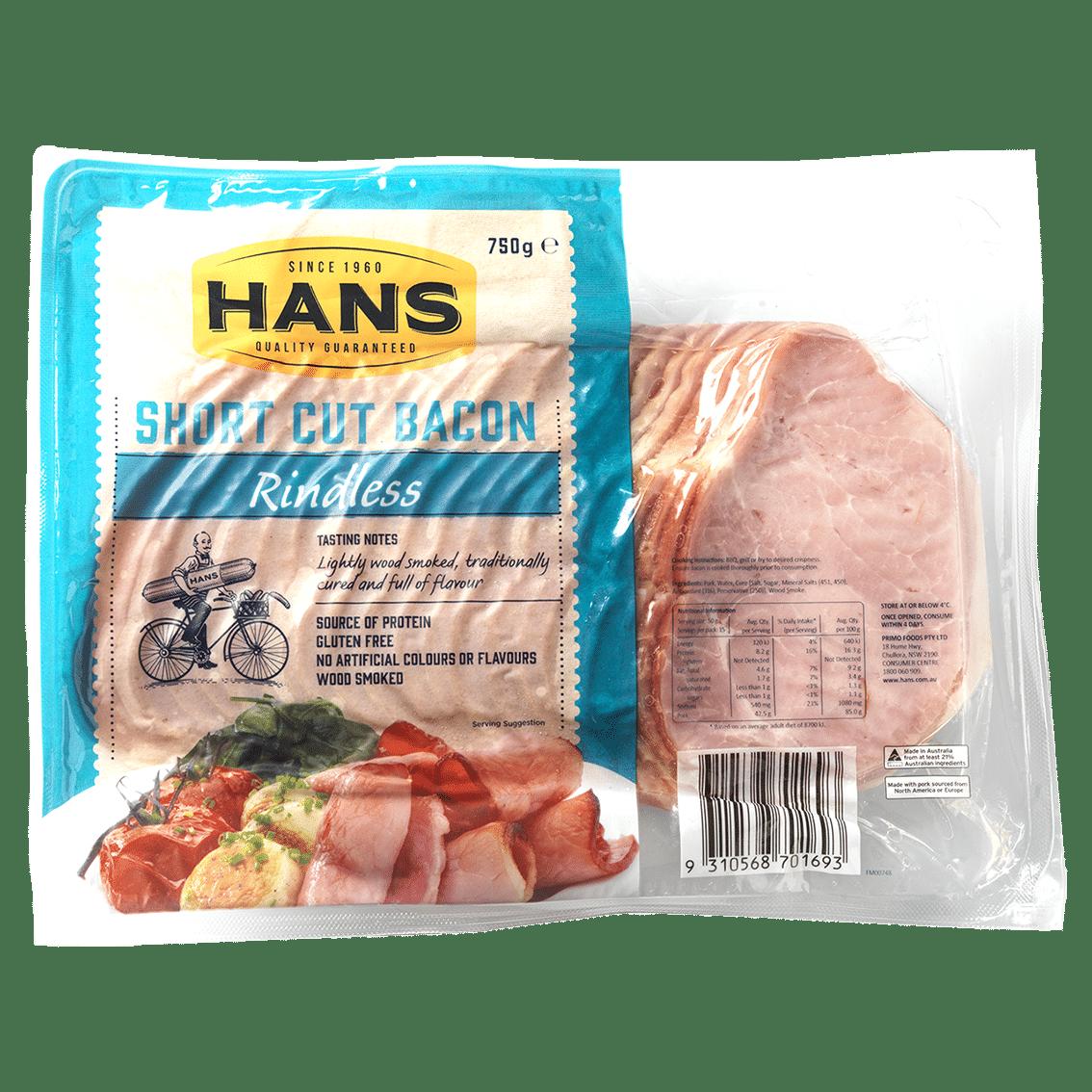 Hans Short Cut Bacon 750g