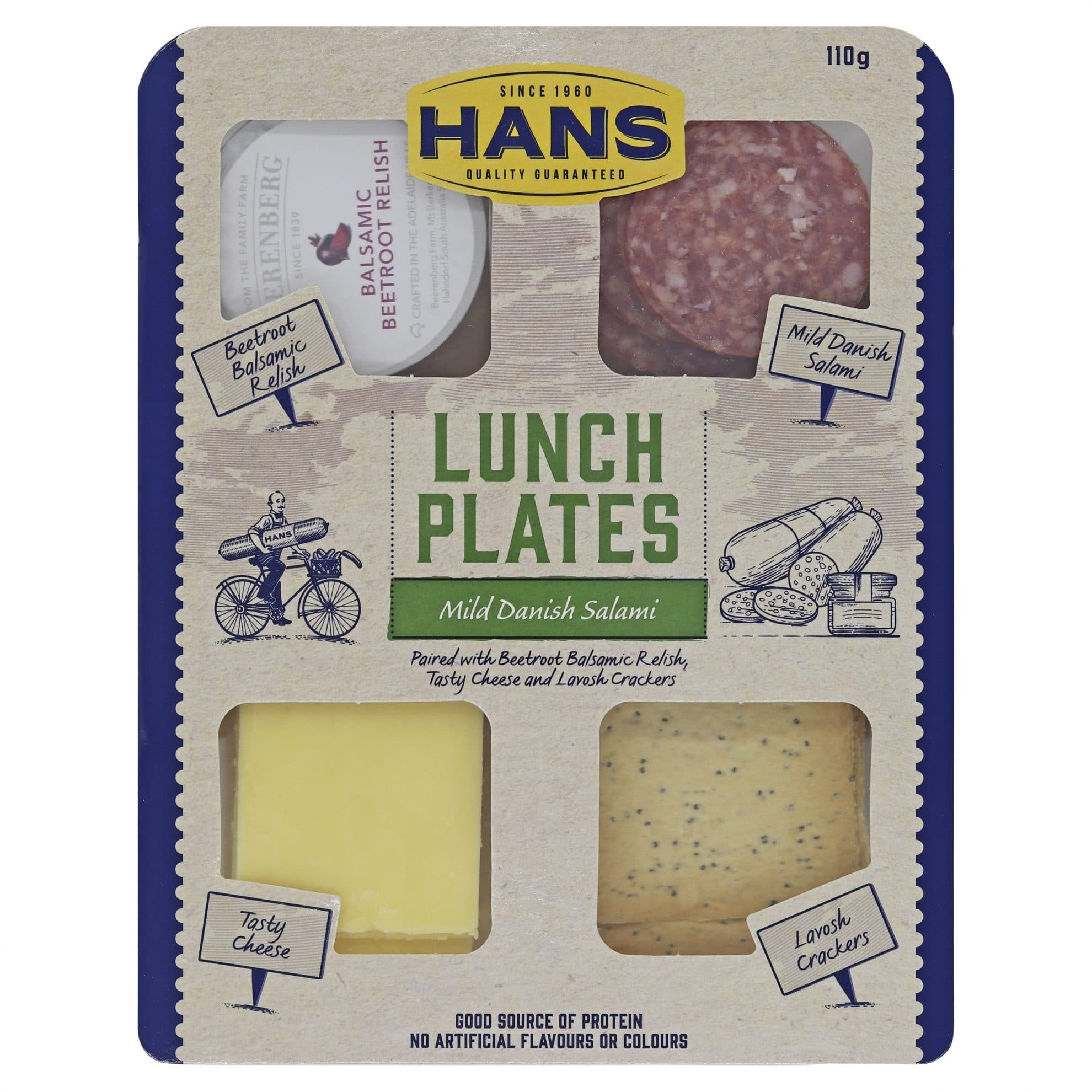Hans Lunch Plate Mild Salami and Beetroot Relish 110g